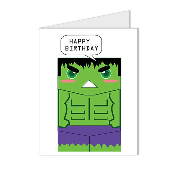 Get 10% OFF - Children Kid Happy Birthday Card - The Incredible Hulk Superhero Collection Custom Blank Card - Special 2016 SALE
