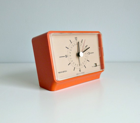Mid Century Modern Alarm Clock - Nectarine Orange, Autumn Colour - Remington, W. Germany - 1960's Home, Starburst Pattern, Morning Wake Up