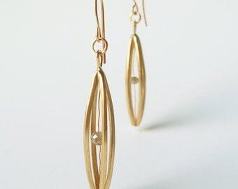 "14k Gold and Rough Diamond Earrings, ""Float"""