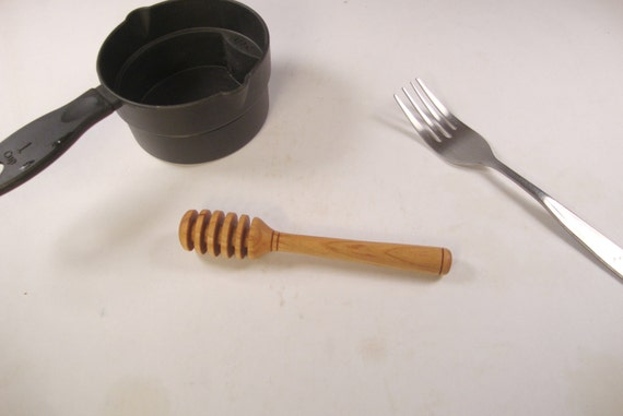Wood honey dipper, five inches long, cherry wood