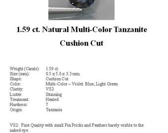 TANZANITE - 1.59 Carats of Gorgeous Multi-Color Tanzanite in a Striking Cushion Cut...