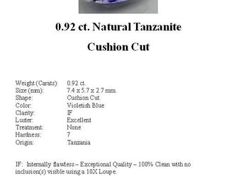 TANZANITE - Gorgeous 0.92 ct. Natural Tanzanite in a Beautiful Cushion Cut...
