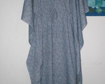 Stone Grey Blue Abstract Avante Garde Kaftan Mediterranean Dress