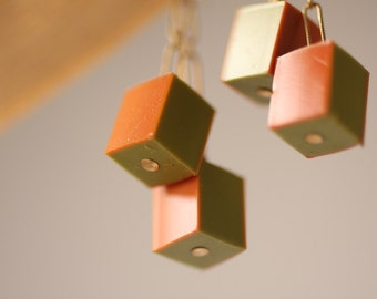 Vintage Orange and Green Dangling Cube Pierced Earrings