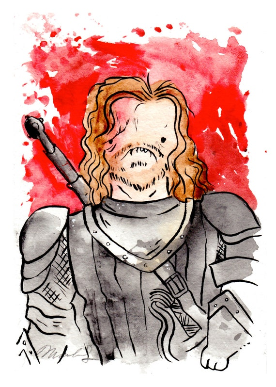 The Hound Sandor Clegane 5x7 inch print, Game of Thrones fan art. Watercolor painting. Jon Snow.
