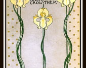 "Vintage Book Cover ""Beautiful Flowers and How to Grow Them"" published 1909 -  Giclee Art Print on Canvas"
