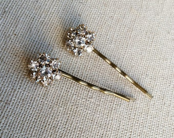 Gold Bridal Rhinestone Flower Hairpins 2 pc, bridal gold hair, vintage, hair accessory, bobby pin FLOWER RHINESTONE BRONZE