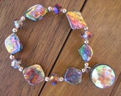 Ablalone Shell Bracelet with Purple Iridescent Glass crystals and Rainbow Dangle