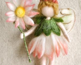 Flower Fairy Waldorf inspired needle felted doll: Daisy Fairy