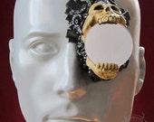black gilded skull latex monocle prosthetic