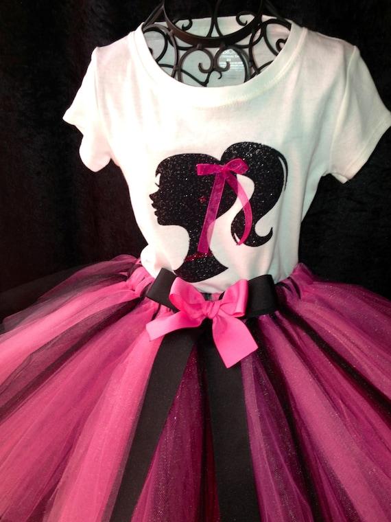 Barbie Shirt Pink Black White Sparkle Glitter By
