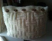 cream Hand knit cushion/pillow