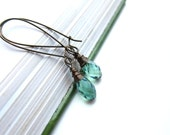 Cinderella's Earrings, Vintage-Inspired, made with Fern Green Crystals (Swarovski Elements) carefully wrapped in brass wire