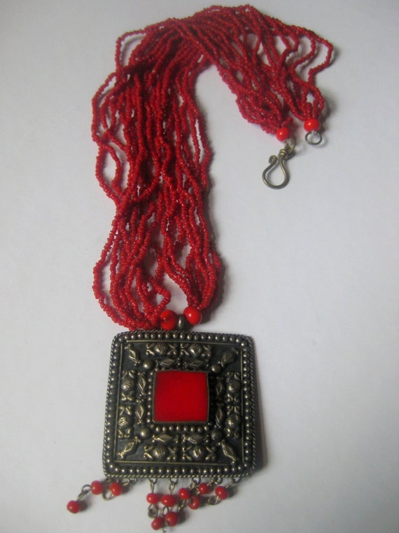 Vintage Tribal Necklace, beaded Necklace, red necklace, African necklace, Ethnic jewelry with pendant and dangles