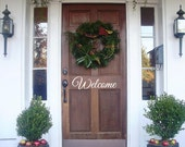 """50% Off- Welcome Door Decal-3""""h x 10""""w-Black Vinyl Lettering Decal-Wall Words Decal-Front Entry Decal"""