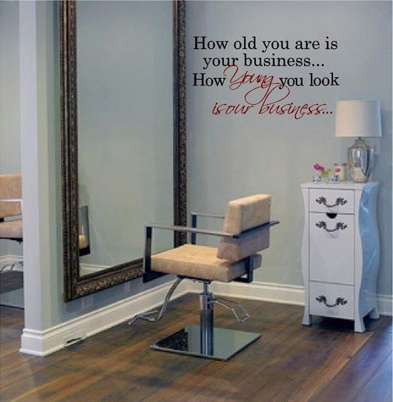 Large salon decal young is our business 20h x for Spa wall decor