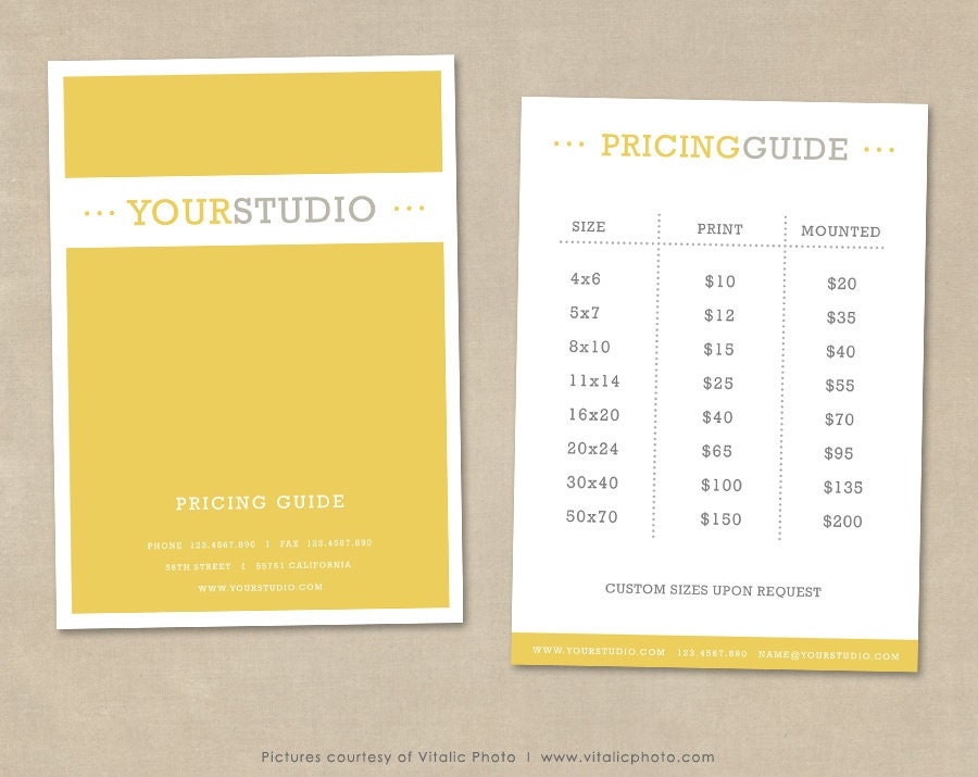 Photography Pricing Guide Template Price List Photoshop