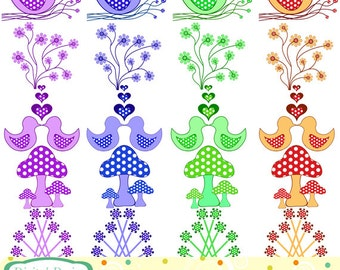 Spring time, polka dots bumper clip art set, 20 designs for Personal and commercial use.