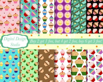 Cupcakes paper, 12 sheet set. INSTANT DOWNLOAD for personal and commercial use.