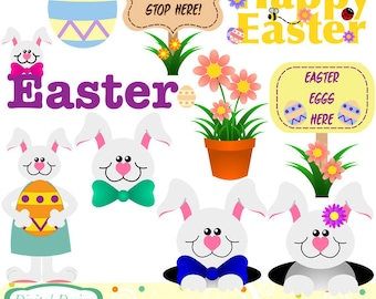 Easter Bunnies clip art set, 10 designs. INSTANT DOWNLOAD for Personal and commercial use.