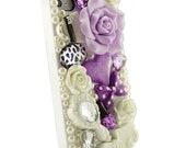 iPhone 5 Decoden Kawaii Style White and Lavender Fashion Designer Bling case