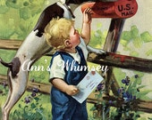 "Dog Print, Getting the Mail, ""Helpful Pal"", Print for Mailman, Restored 1940s Dog Art Print, Mail Time, Dog Helps ""His"" Little Boy #19"