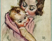 NURSERY PRINT - Baby Girl and Mom - 1933 Restored Baby Art Print -   Great Shower Gift - Maud Tousey Fangel   #169