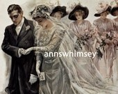 Wedding Art Print, Vintage Antique Restored Art Wedding or Shower Decor, Restored Antique Art Print  #125