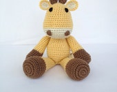 Crochet Giraffe Stuffed Animal in Yellow and Brown