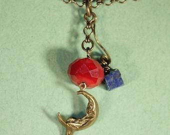 Blue Lapis, Girl Swinging On Moon Necklace