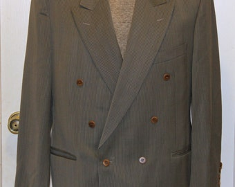 Bottoli Men's Suit Jacket -Green Grey - Double Breasted - Made in Italy - Size 52 C - Lubiam 1911 - Nahum Bros. Rochester, NY