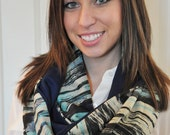 Blue and Tan Infinity Scarf