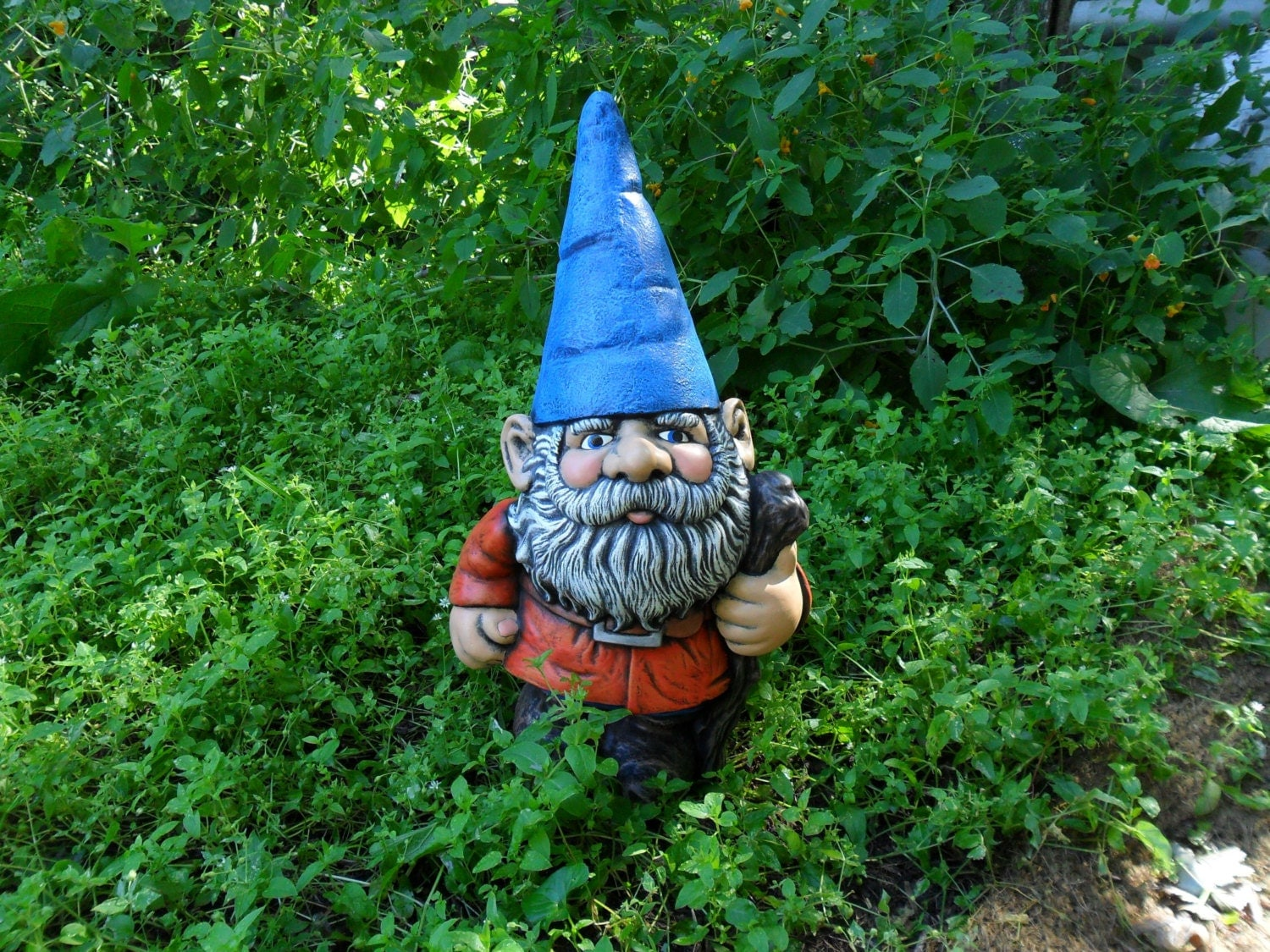 Gnome In Garden: Ceramic LARGE Gnome 21 Inches Hand Made Painted Lawn Or