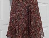 Designer Anne Klein  Two Layers Silk Skirt Hankerchief Hem