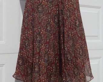 Designer Anne Klein  Two Layers Silk Skirt Hankerchief Hem