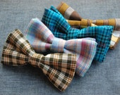 SALE! Pick-Your-Plaid Bow Tie - Clip-on bowtie made to order for adults or children. Choose from 4 options.
