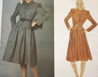 1980s Valentino Peplum Jacket, Flared Skirt, Vintage Sewing Pattern /Vogue Designer Original 2566, Bust 34, Uncut