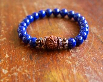 Mens Lapis Bracelet Mala Prayer Beads Natural Gemstone Yoga Jewelry Lapis Lazuli Copper Rudraksha