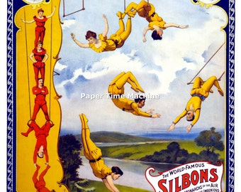 Barnum & Bailey Circus - Silbons Aerial Act Trapeze Late 19th Early 20th Century  - Digitally Remastered Vintage Fine Art Print / Poster