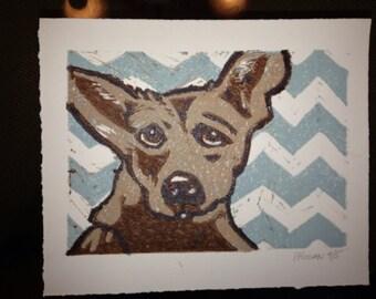 5x7 Chihuahua on Chevron Linocut Print