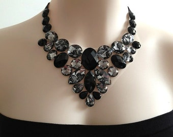 bib black necklace - black, grey, lacy rhinestone bib unique necklace, prom, bridesmaids, holidays, birthday gift necklace NEW SEASON