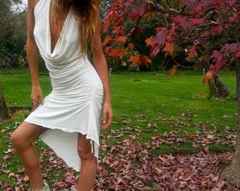 SEXY WHITE DRESS, Burning Man, Cowl Neck, Open Back, Drapped Dress, Versatile Dress, Woman Top, Sexy & Sweet Dress, Elvish Gypsy Fairy