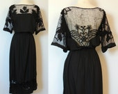 Vintage Mexican Floral Crochet Cut Out Dress with Exposed Back
