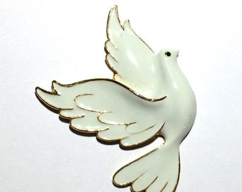 White Enamel Dove Brooch, Animal Brooch