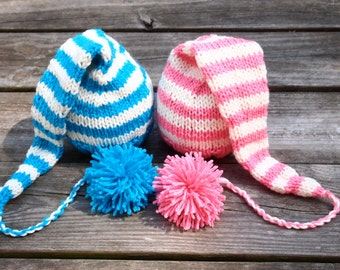 Newborn Twin Boy and Girl Knitted Elf Hats with long tail pom pom for Photography Props