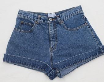 "90s Vintage ""CAROLINA BLUES"" High-Waist BLUE Jean Shorts Sz: 6 (Women's Exclusive)"