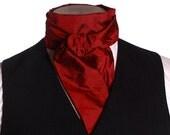 Cravat - Red / Burgundy Dupioni Silk - Victorian Steampunk Circus
