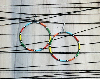 Masai Inspired Beaded Multi-Color Tribal Hoop Earrings
