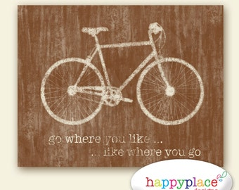 Brown Grunge Bicycle Typography for INSTANT DOWNLOAD  - 8x10in or 11x14in. Other sizes and colours available.