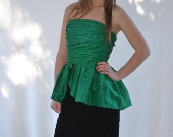 vintage AVANT GARDE green black silk ruched Peplum cocktail party DRESS  Jean Marc Sfez France 40